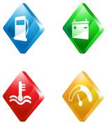 Car service glass transparent color icon set Stock Illustration