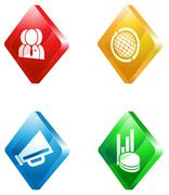 News glass transparent color icon set - stock illustration
