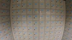 Abstract Fisheye View of a Long Corridor of Post Office Boxes. FullHD video Stock Footage