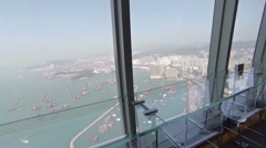 Hong Kong Skyline from the Observation Deck of a Skyscraper. FullHD video Stock Footage