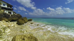 Gentle Waves Wash over a Private, Tropical Beach, with Sound. Video 1920x1080 Stock Footage