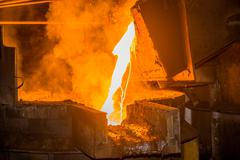 steel pouring - stock photo