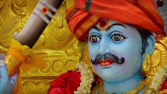 Statue of a Blue Skinned Deity in a Hindu Temple. Video 1080p Stock Footage