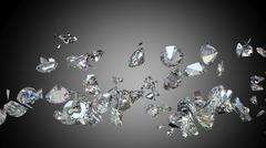 Broken and shattered diamonds or gemstones - stock illustration