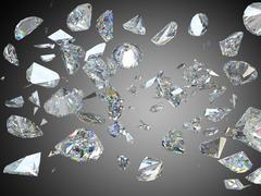 Broken and shattered large diamonds or gemstones - stock illustration