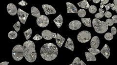 Diamonds or gemstones on black - stock illustration