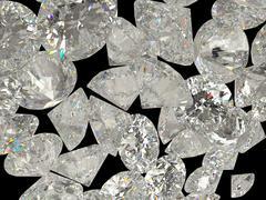 Diamonds or jewelry gemstones on black Stock Illustration
