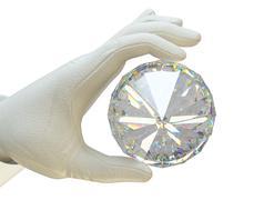 Stock Illustration of Hand in white glove holding huge gemstone
