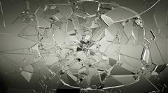 Pieces of cracked glass on white - stock illustration