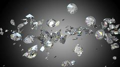 Broken and cracked diamonds or gemstones - stock illustration
