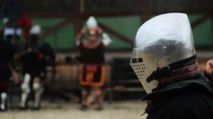 Medieval soldier accepting challenge, starting attack on rival in tournament - stock footage