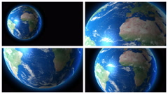 Planet Earth rotation in 4 elements. 4K animation Stock Footage