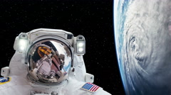 Astronaut Spacewalk by Earth with Hurricane in Outer Space, 4K - stock footage
