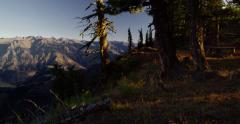 Campsite on the rim of Hells Canyon, Canyon National Recreation Area, Oregon Stock Footage