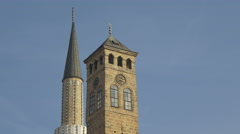 Sahat-kula and Gazi Husrev-beg Mosque towers in Sarajevo Stock Footage