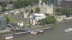 4K Aerial view Tower London ancient castle boat station Thames River ferry trip Stock Footage