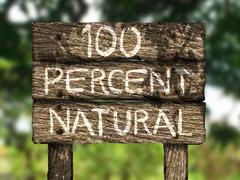 One Hundred Percent (100%) All-Natural Wood Old Sign - stock illustration