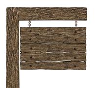 Blank Old Wood Hanging Signboard Isolated on white background - stock illustration
