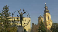 """A multicultural man will build the world"" statue in Liberation Square, Sarajevo Stock Footage"