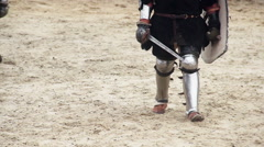 Strong knight challenging rival to fight in tournament, martial art competition Stock Footage