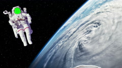 Two Astronaut Spacewalk Green Screen Face by Earth with Hurricane in Space - stock footage
