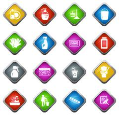 Cleaning company icons set Stock Illustration