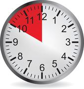 Stock Illustration of Clock with red 10 minute deadline