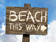 Beach This Way Wooden Signboard - stock illustration