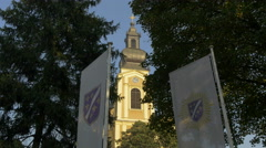 Clock tower of Serbian Orthodox Cathedral seen from Liberation Square, Sarajevo Stock Footage
