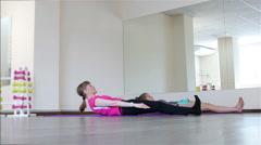 Power Pilates & Yoga Classes. Sit-UPS body Stock Footage