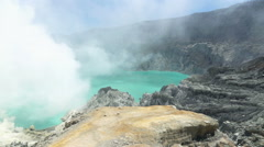 Smoke over active Ijen volcano in Java, Indonesia, super slow motion Stock Footage