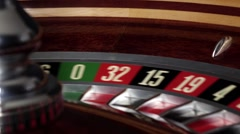 Usual roulette wheel running with white ball Stock Footage
