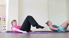 Power Pilates & Yoga Classes. Legs raises Stock Footage