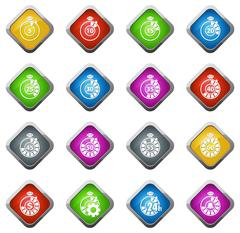 Timer icon set - stock illustration
