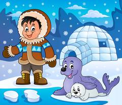 Arctic theme image - eps10 vector illustration. Stock Illustration