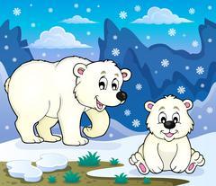 Polar bears theme image - eps10 vector illustration. Stock Illustration