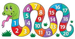 Snake with numbers theme image - eps10 vector illustration. - stock illustration