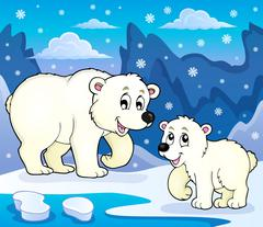 Polar bears theme image - eps10 vector illustration. Stock Illustration
