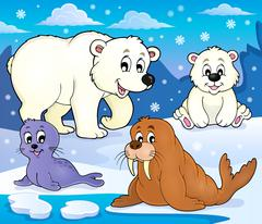Various Arctic animals theme image - eps10 vector illustration. Stock Illustration