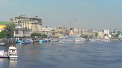 River port on Dnepr in Kiev Stock Footage