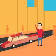 Man want to catch a transport. Greet friends - stock illustration