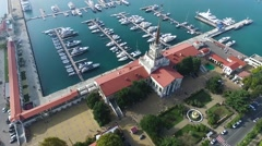 Sea port of Sochi from the height of bird's flight Stock Footage