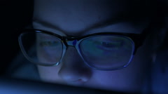 Woman working at night Stock Footage