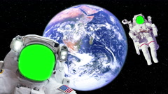 Two Astronaut Spacewalk Green Screen Face by Bright Earth Outer Space, 4K - stock footage