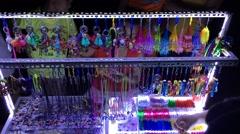 Souvenir seller work in night street in Vung Tau city Stock Footage