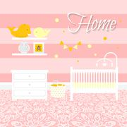 Nursery room with furniture. Baby interior - stock illustration