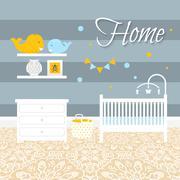 Nursery room with furniture. Baby interior - stock illustration