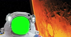 Astronaut Spacewalk Green Screen Face Hurricane on Mars From Space, 4K - stock footage