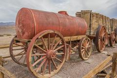 Water tank car at Harmony Borax in Death Valley - stock photo