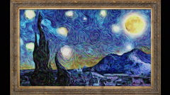 Animated Van Gogh Starry Night Stock Footage